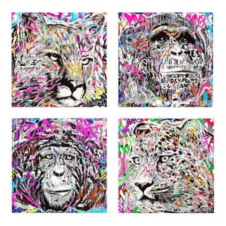 Litho.Online Jo Di Bona - Set de 4 prints Popopop!