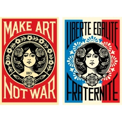 Litho.Online Shepard Fairey - PACK de 2 posters : Make Art Not War + Liberté Egalité Fraternité
