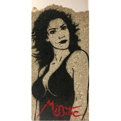 Miss Tic - De mes frasques je fais des fresques  - pochoir sur parpaing - 38x19x10cm - 2017