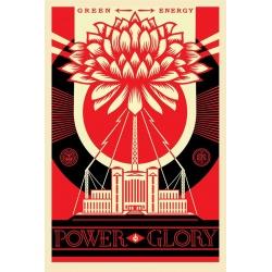 Shepard Fairey (Obey) - Green Power - Poster signé daté -Format 91x61cm- 2017