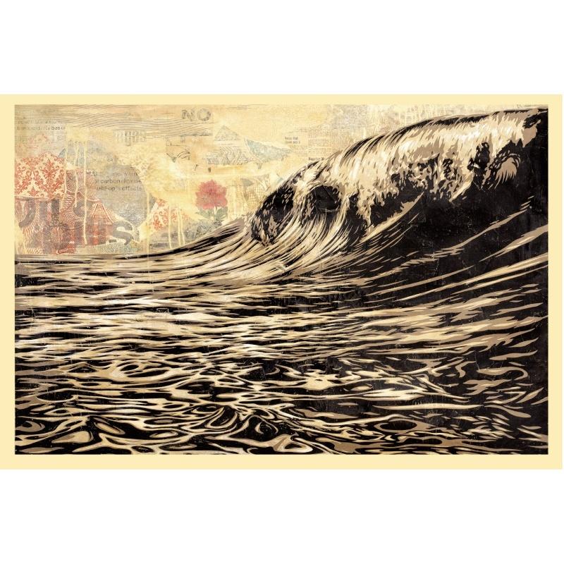 Obey (Shepard Fairey) - Black Wave - Poster signé et daté - Format 61x91cm - 2017