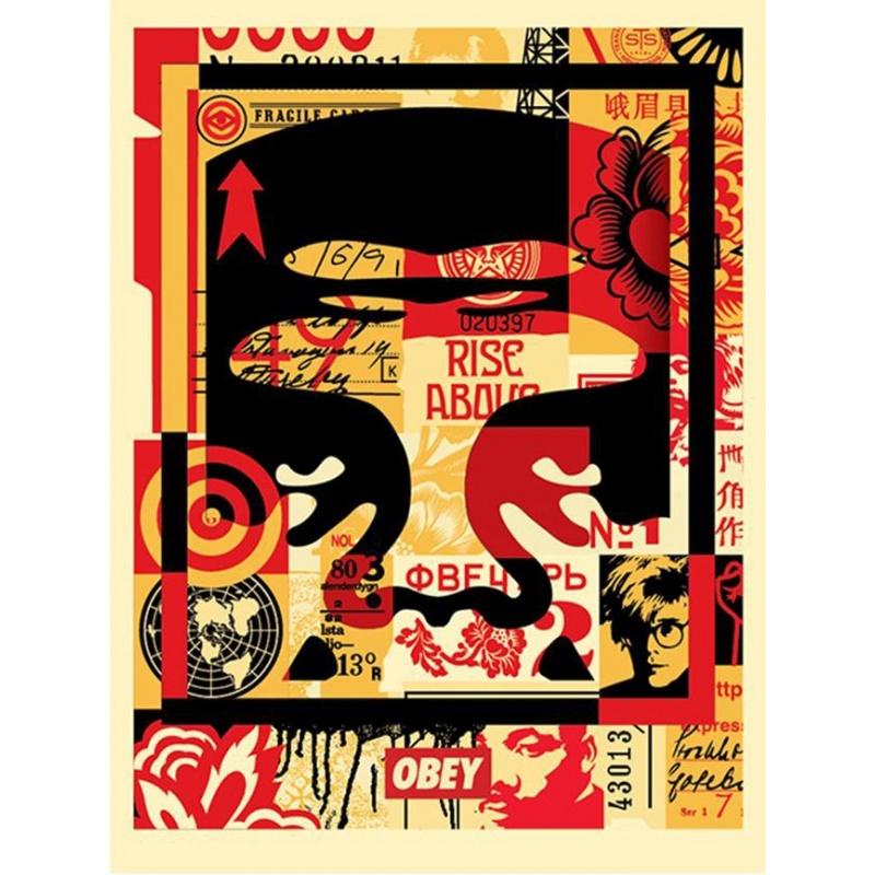 Shepard Fairey (Obey) – Face Collage Haut - Poster signé et daté - 61x46cm - 2017
