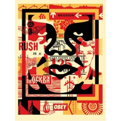 Shepard Fairey (Obey) – Face Collage milieu - Poster signé et daté - 61x46cm - 2017