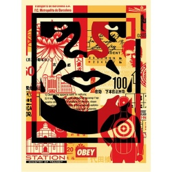 Litho.Online Shepard Fairey - Face Collage bas