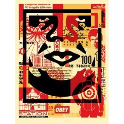 Shepard Fairey (Obey) – Face Collage bas - Poster signé et daté - 61x46cm - 2017