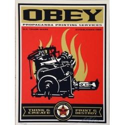 Litho.Online Shepard Fairey - Propaganda printing service - Signé au crayon