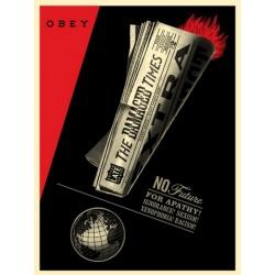 Shepard Fairey (Obey) – Damaged Times - Sérigr. signée numérotée 450ex - 61x46cm - 2017