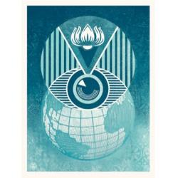 Shepard Fairey (Obey) – Flint Eye Alert Globe - Sérigraphie signée numérotée sur 450ex - 61x46cm - 2017