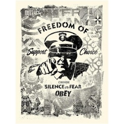 Shepard Fairey (Obey)– Damaged Stencil Silence or Fear- Signée & Numérotée 400ex - 61x46cm - 2017