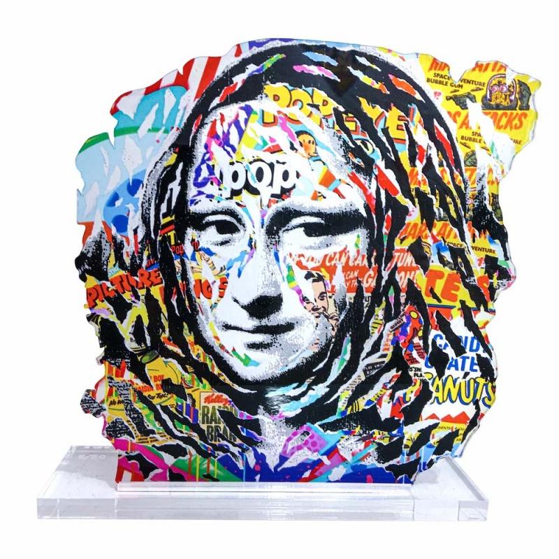 """Litho.Online Sculpture de Jo Di Bona \\""""La Joconde\\"""" + Livre \\""""Sous le Street Art, Le Louvre\\"""" OFFERT"""