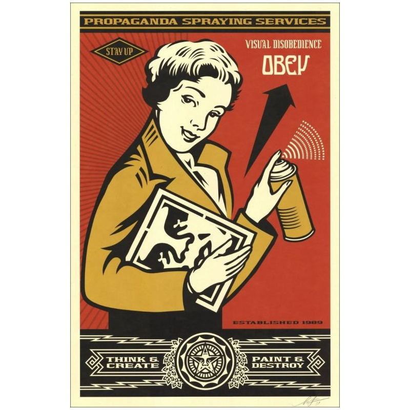 Litho.Online Shepard Fairey - Obey Stay Up Girl - signé au crayon