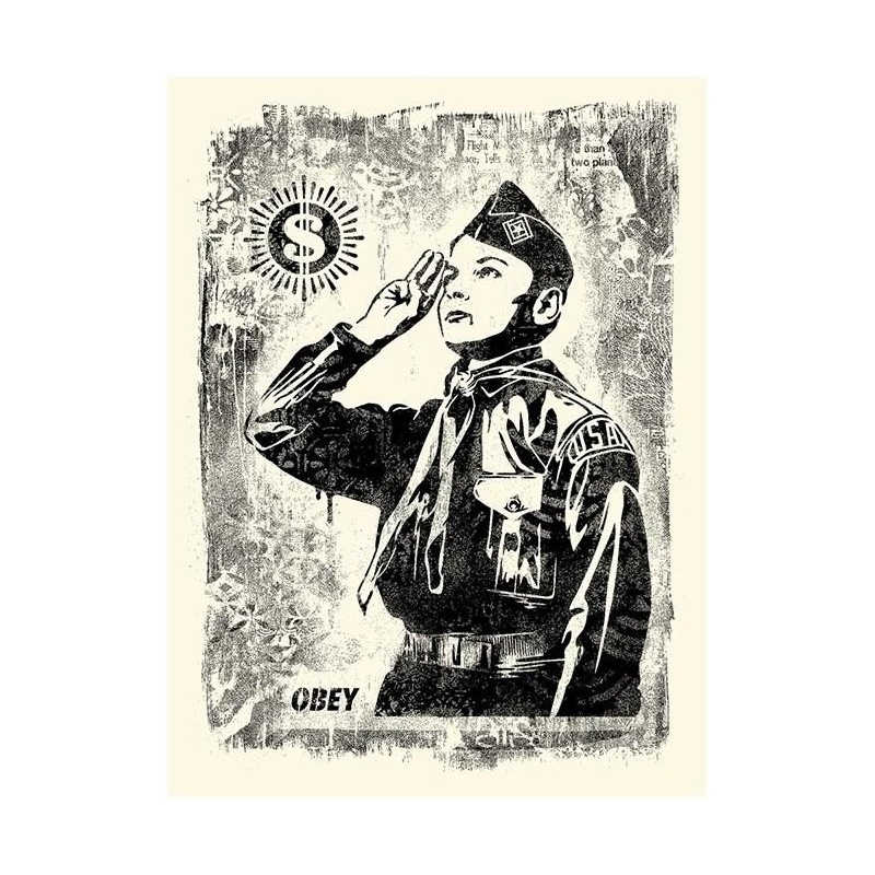 Litho.Online Shepard Fairey - Damaged Stencil Learn to Obey
