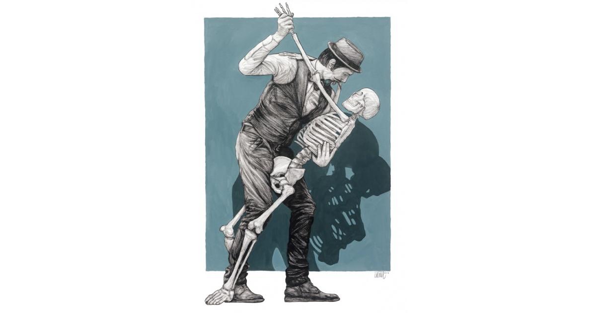 Levalet - Dernier Tango - Estampe signée numérotée 20ex- Museum 350g- 70x50cm 2018