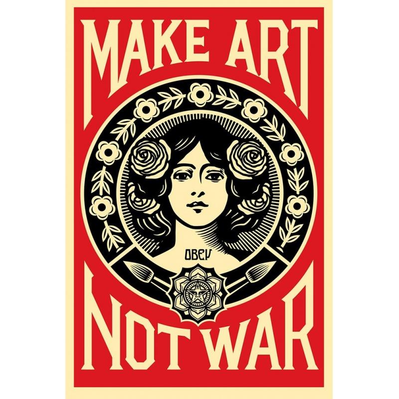Obey (Shepard Fairey) - Make Art Not War - Poster signé - Format 91x61cm - 2017