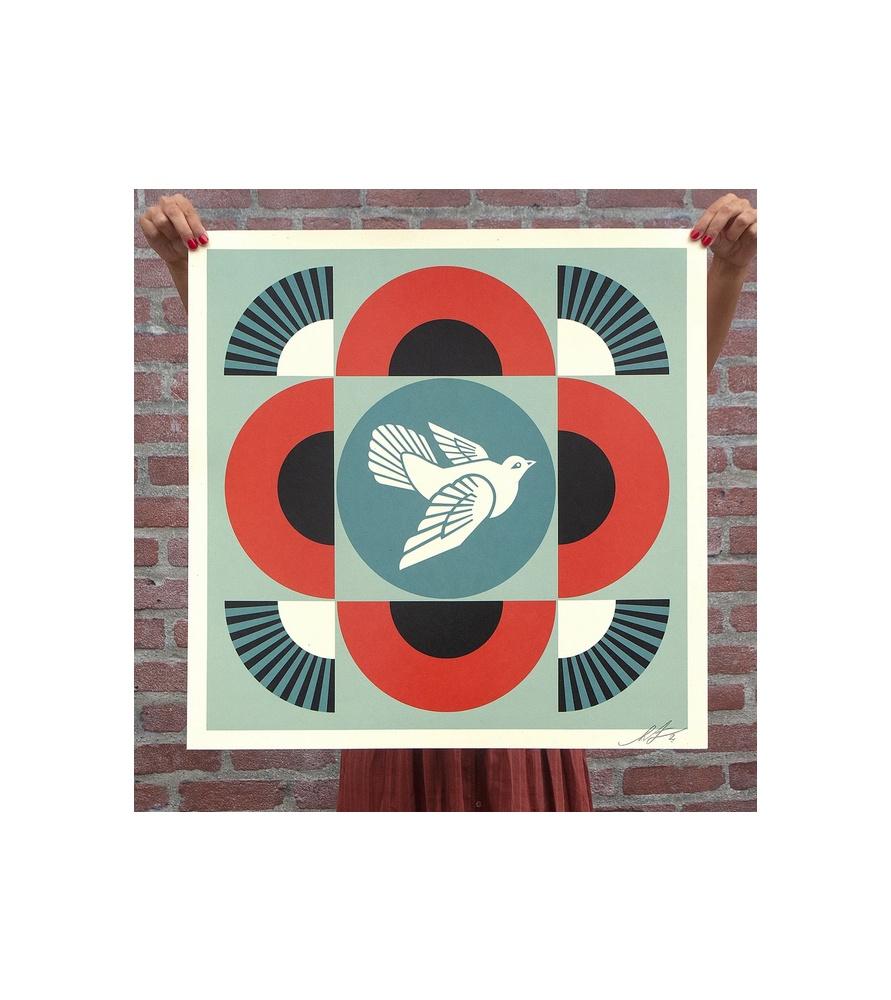 Litho.Online Shepard Fairey - Dove Geometric (Red) - signé et daté