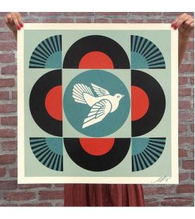 Litho.Online Shepard Fairey - Dove Geometric (Black) - signé et daté