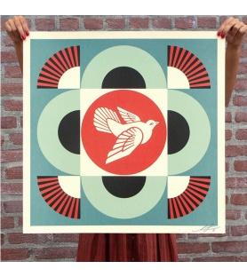 Litho.Online Shepard Fairey - Dove Geometric (Blue) - signé et daté