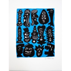 Hervé Di Rosa - Figure Bleue -Lithgraphie signée et numérotée- 51x37